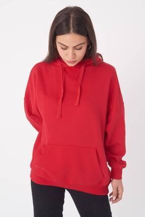 Addax Kadın Kırmızı Kapüşonlu Sweatshirt S0519 - P10V1 Adx-0000014040 3