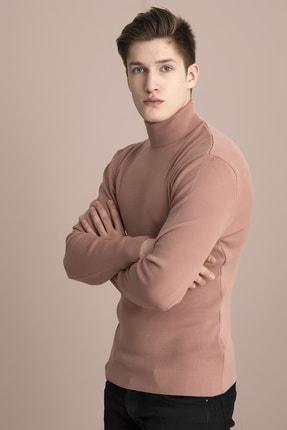 Tena Moda Erkek Pudra Tam Balıkçı Yaka Basic Triko Kazak 4