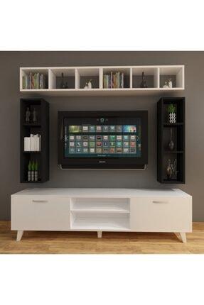 Dekormer Design Tv Ünitesi Dolaplı Siyah Beyaz 180 Cm Ve Kitaplık 0