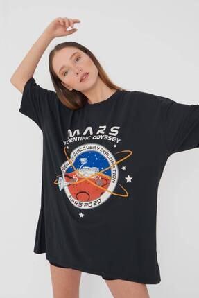 Addax Kadın Füme Baskılı Oversize T-Shirt P9411 - U2 Adx-0000022043 3