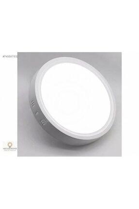 Led 18w Yuvarlak Beyaz Işık Sıvaüstü Slim Panel Tavan Aydınlatma Armatürü 0