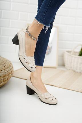 Diego Carlotti Hakiki Deri Bej Kadın Topuklu Günlük Klasik Ayakkabı 4