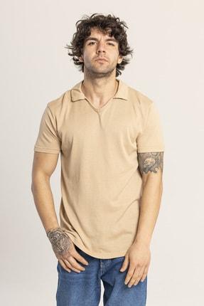 XHAN Ekru Yakalı Triko T-shirt 1kxe1-44809-52 2