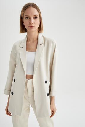 Defacto Kadın Ekru Oversize Fit Blazer Ceket 2