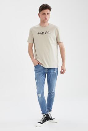 Defacto Erkek Ekru Regular Fit Bisiklet Yaka Baskılı T-Shirt 1