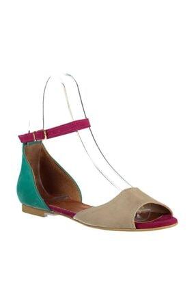Fox Shoes Kadın Ten Fuşya Yeşil Sandalet B726555002 2
