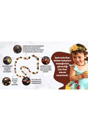 İpek Kehribar Unisex Karamel Renk Sertifikalı Bebek Kolyesi Baltık Litvanya Kehribar Kolye 2
