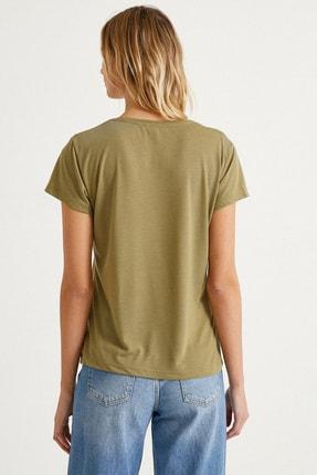 Koton Kadın Haki T-Shirt 1Yak13920Ek 3