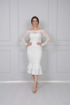 giyimmasalı Üst Güpür Alt Scuba Eteği Volanlı Elbise - Beyaz 0