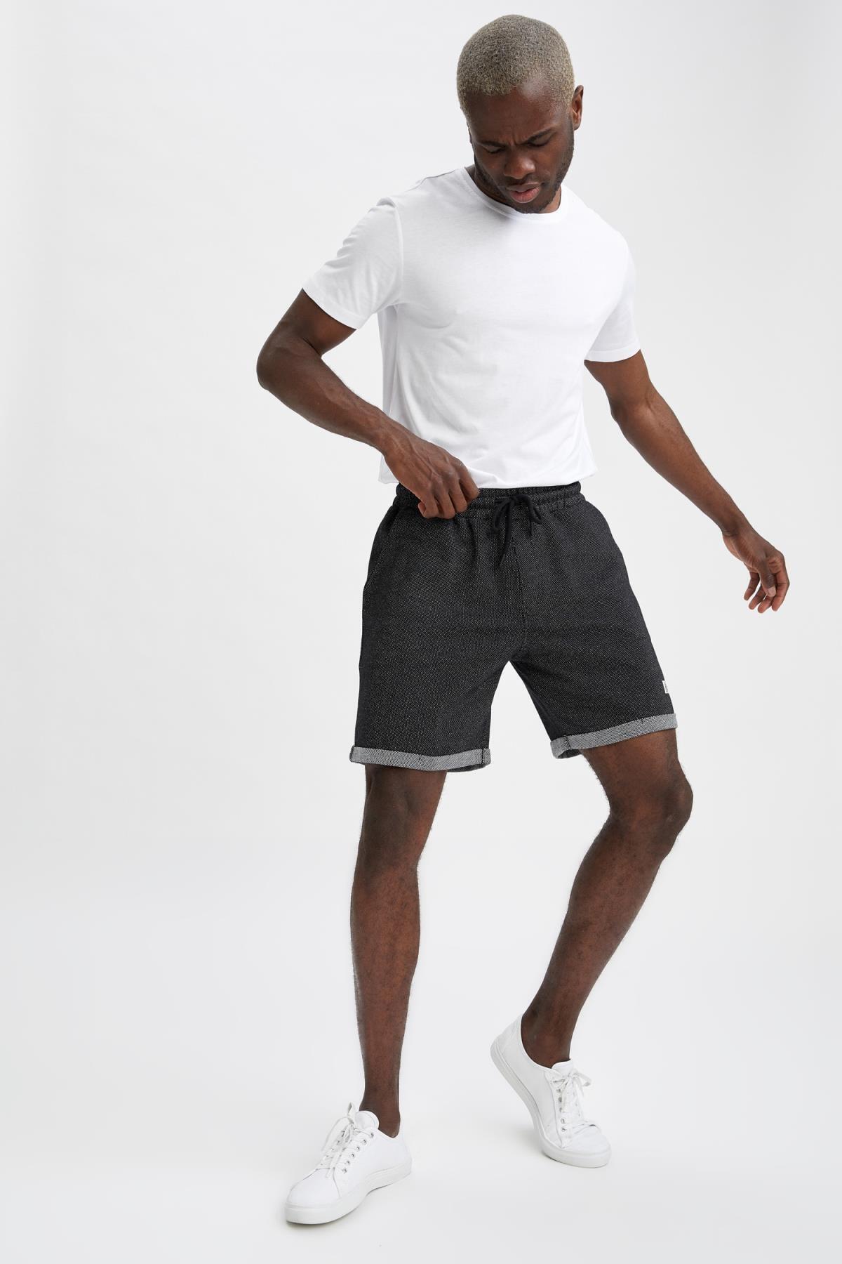 Erkek Siyah Slim Fit Basic Şort N0640AZ21SMBK