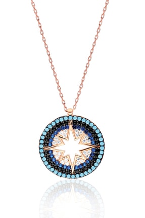 By Barun Silver Kadın 925 Ayar Gümüş  Renkli Yıldız Kolye - Rose 0
