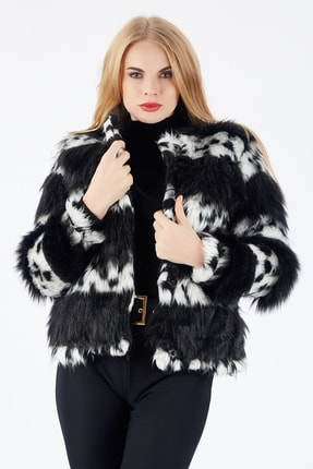 Sense Kadın Siyah Beyaz Çıtçıtlı Astarlı Peluş Ceket Ckt32378 0
