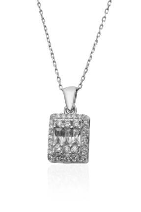 By Barun Silver Baget Taşlı Pırlanta Model Gümüş Kolye 1