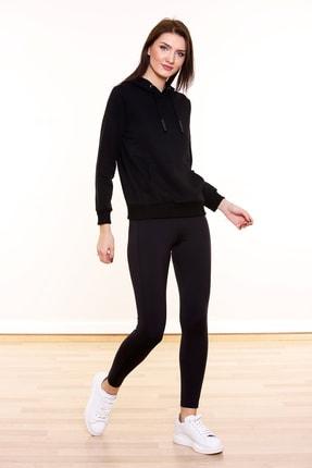 MARIQUITA Kadın Siyah   Kapşonlu Baskısız Sweatshirt 0