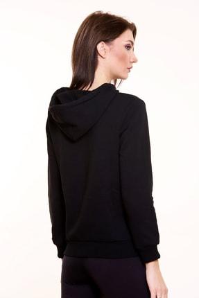 MARIQUITA Kadın Siyah   Kapşonlu Baskısız Sweatshirt 3