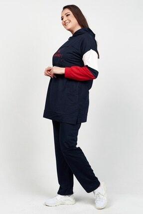 Womenice Kadın Büyük Beden Lacivert Old Fashione  Eşofman Takım 2