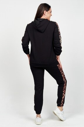 Womenice Kadın Siyah Önü Kolu Kahverengi Leopar Desenli Büyük Beden Eşofman Takımı 4