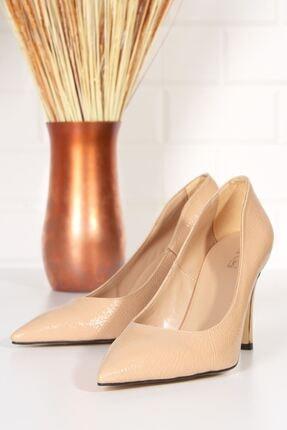 derithy Kadın Bej Topuklu Ayakkabı Rugan Byc2001 1