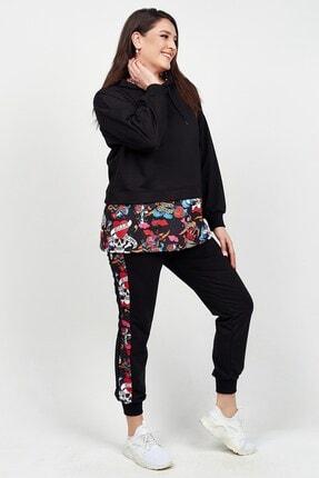 Womenice Kadın Siyah Eteği Renkli Desenli Büyük Beden Eşofman Takım 4