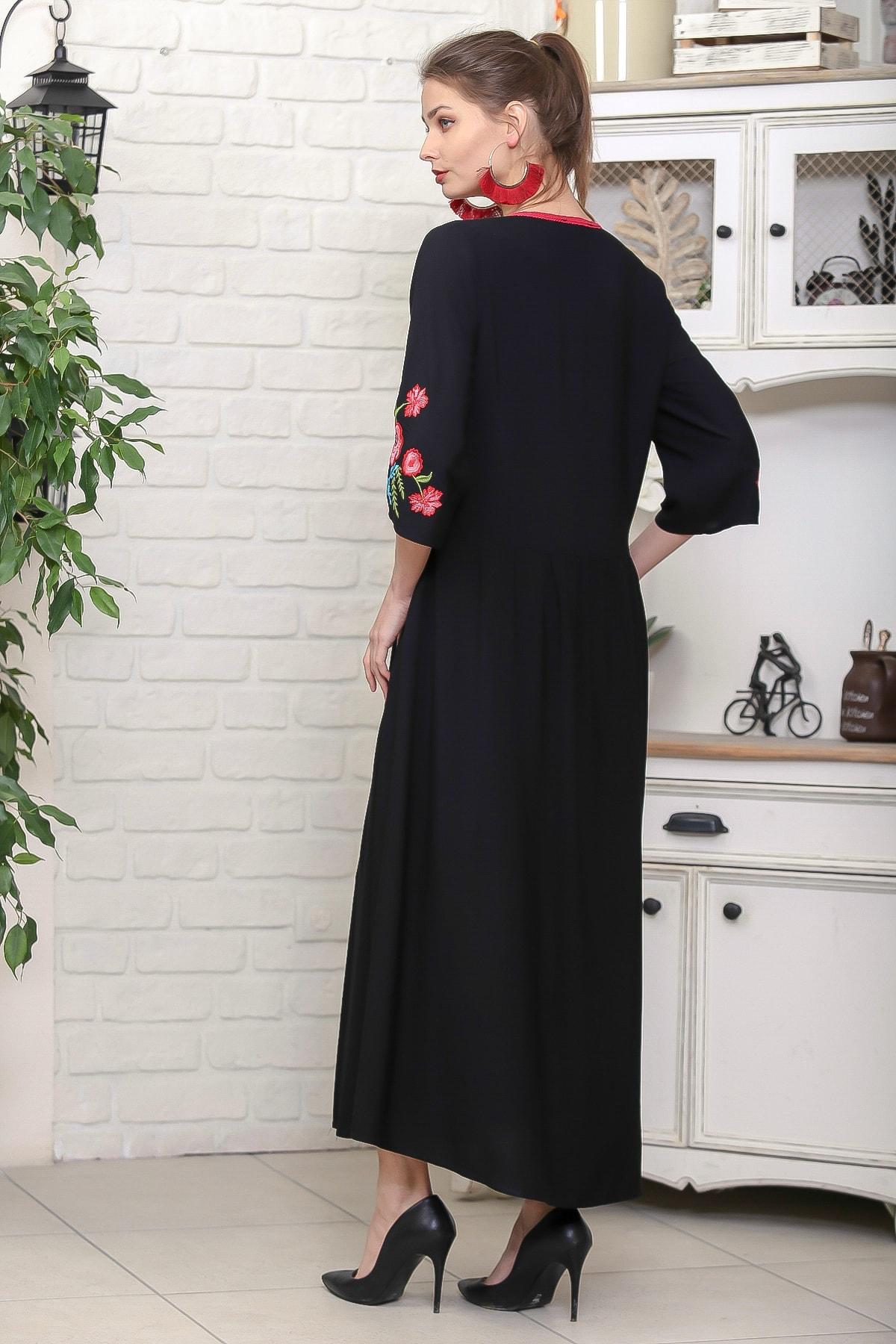 Chiccy Kadın Siyah Beli Ve Kolları Nakışlı Ponponlu Bağcıklı Salaş Dokuma Elbise M10160000EL95920 4