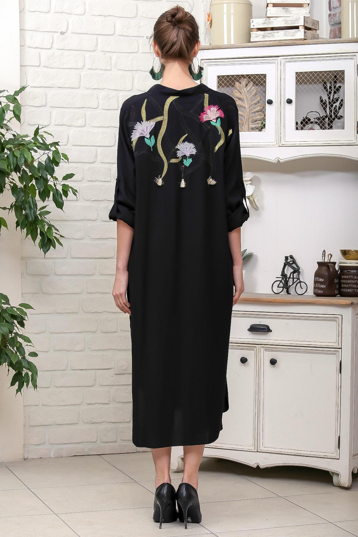 Chiccy Kadın Siyah Karanfil Nakışlı Sırt Detaylı Düğmeli Salaş Gömlek Elbise M10160000EL95923 4
