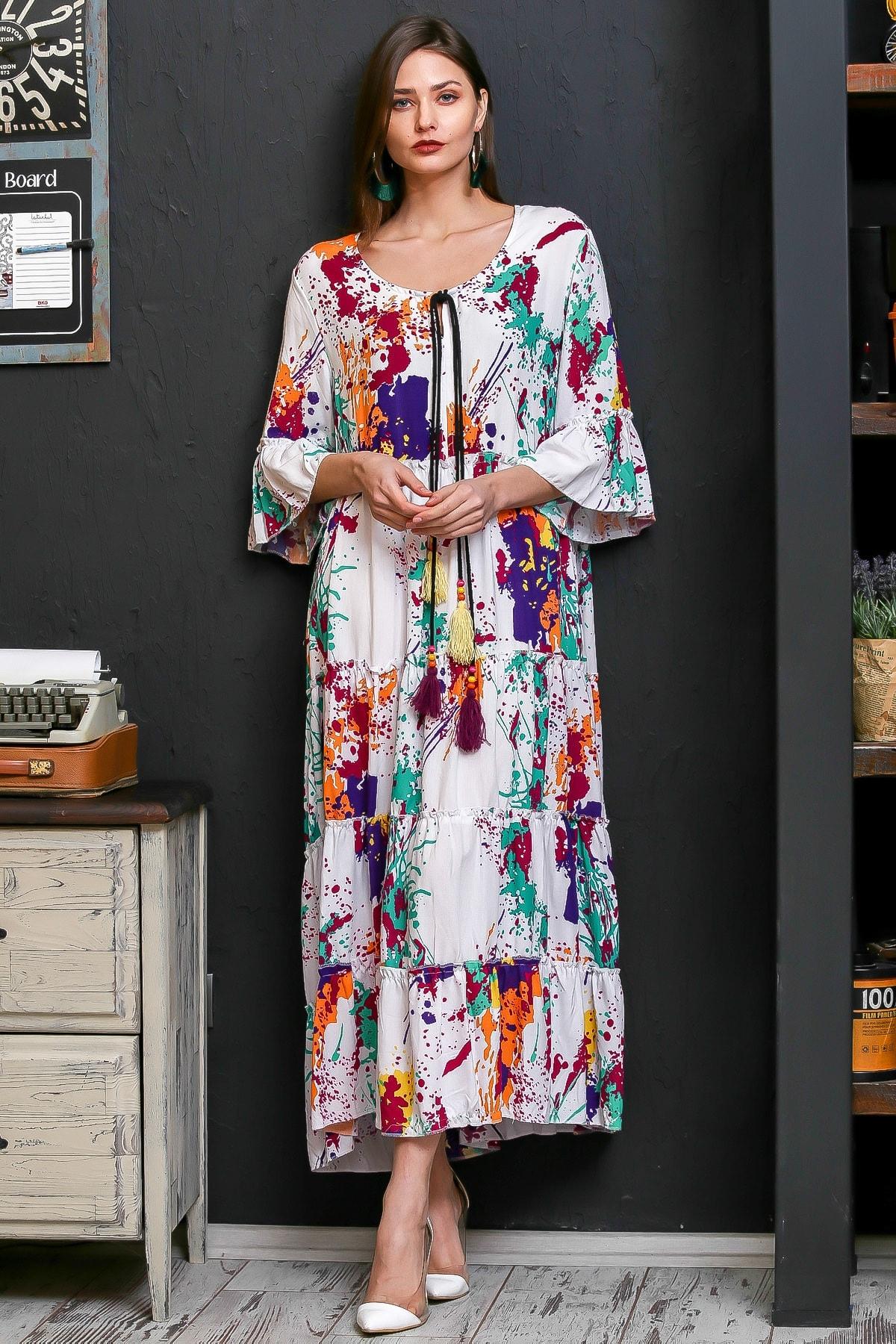 Chiccy Kadın Beyaz Fırça Desen Püsküllü Bağcıklı Salaş Dokuma Elbise M10160000EL95926 2