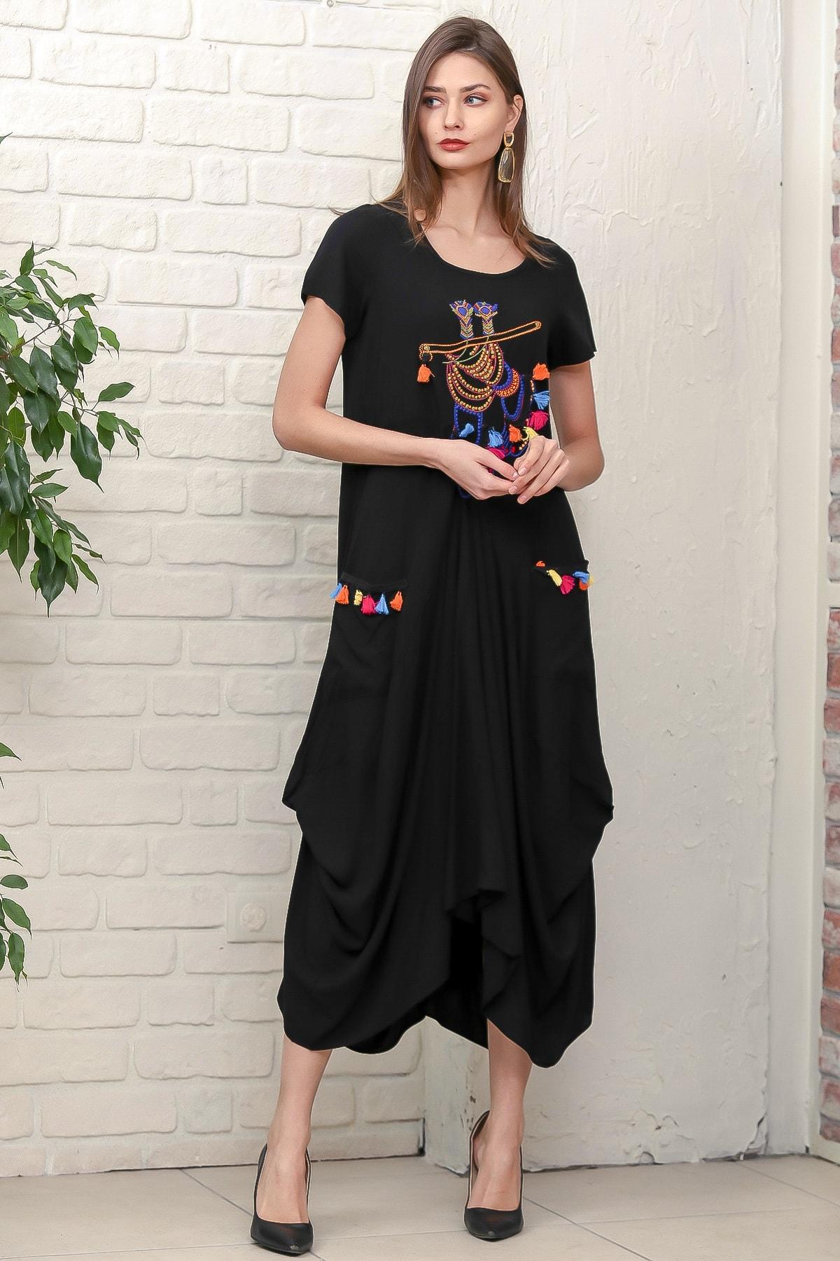 Chiccy Kadın Siyah Bohem Ayak Nakışlı Yarım Kollu Cepli Asimetrik Salaş Dokuma Elbise M10160000EL95884 3