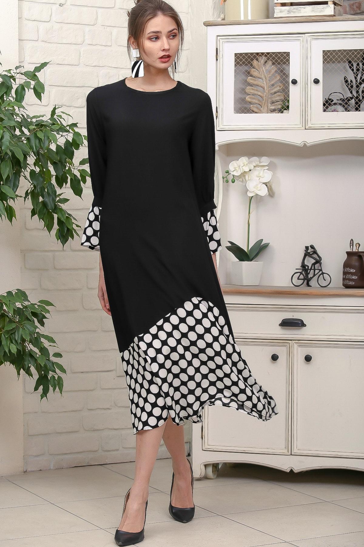 Chiccy Kadın Siyah Sıfır Yaka Puantiye Etek Ucu Bloklu 3/4 Kol Elbise M10160000EL95895 0
