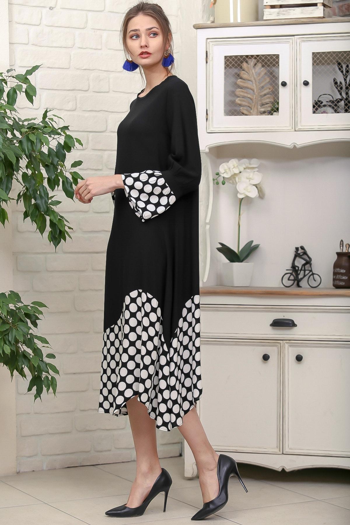 Chiccy Kadın Siyah Sıfır Yaka Puantiye Etek Ucu Bloklu 3/4 Kol Elbise M10160000EL95895 2