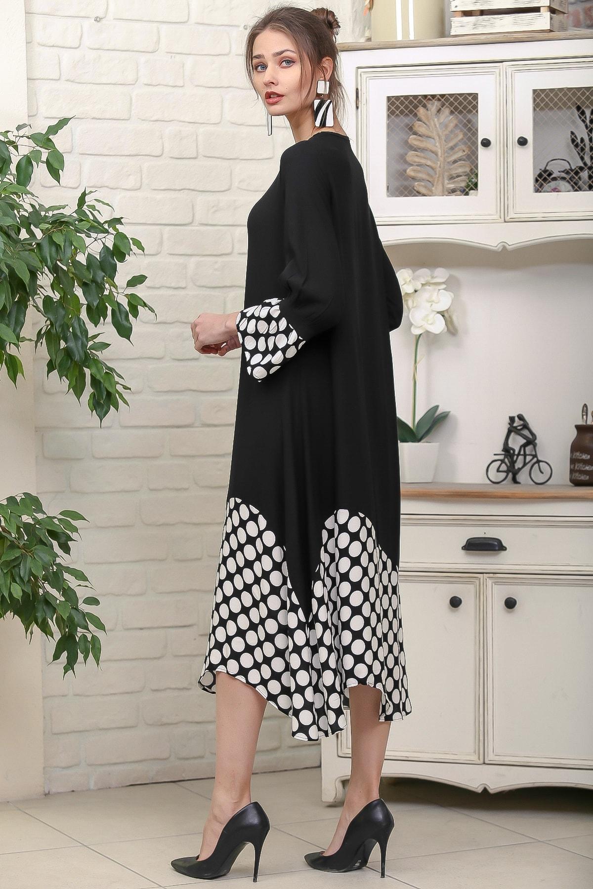 Chiccy Kadın Siyah Sıfır Yaka Puantiye Etek Ucu Bloklu 3/4 Kol Elbise M10160000EL95895 4