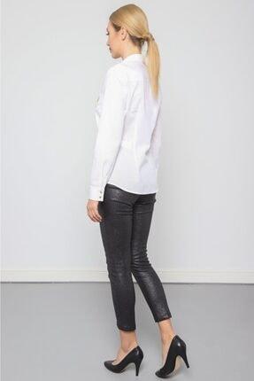 Journey Kadın Beyaz Polo Yaka V Görünümlü Cep Nakış Detaylı Gömlek 3