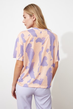 TRENDYOLMİLLA Lila Baskı Detaylı Oversize Örme T-Shirt TWOSS20TS0787 4