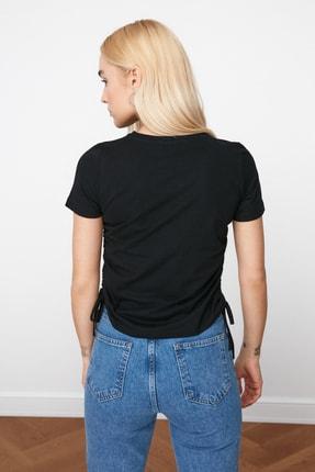 TRENDYOLMİLLA Siyah Büzgülü Basic Örme T-Shirt TWOSS21TS0131 4