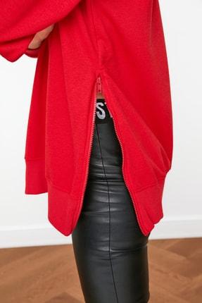 TRENDYOLMİLLA Kırmızı Uzun Oversize Örme Sweatshirt TWOAW20SW0322 3