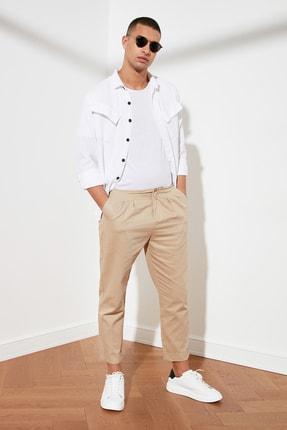 تصویر از Bej Erkek Crop Pileli Pantolon TMNSS21PL0116