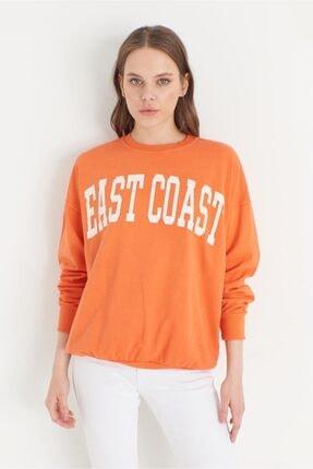 Miyore East Coast Baskılı Sweatshırt- Orange 2