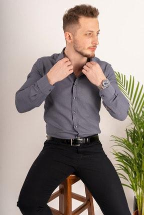Etikmen Erkek Füme Armür Desenli Slimfit Gömlek 0