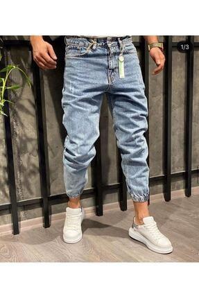 Oliggopol Erkek Mavi Paçası Lastikli Likrasız Boyfriend Kot Pantolon 0