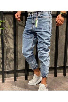 Oliggopol Erkek Mavi Paçası Lastikli Likrasız Boyfriend Kot Pantolon 1