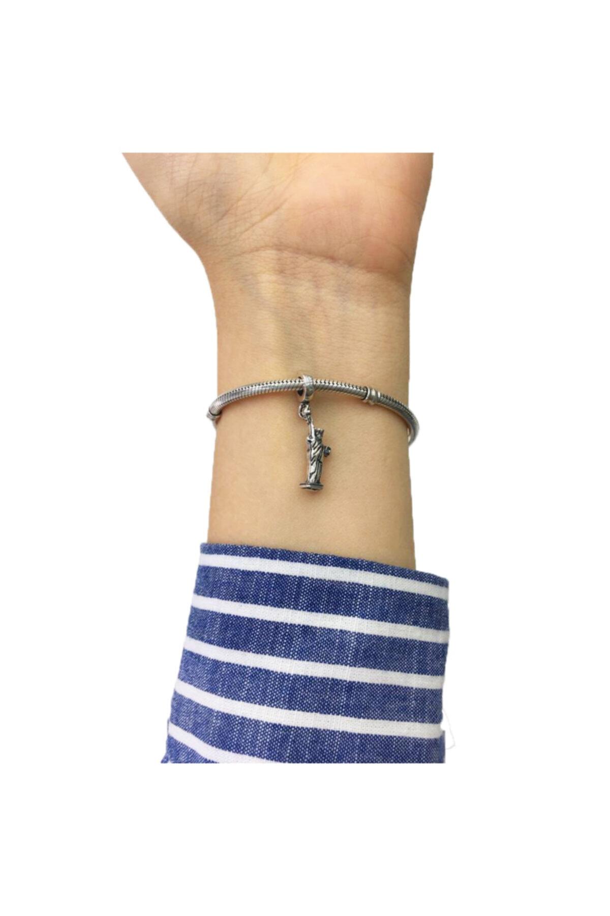 My Story New York Özgürlük Heykeli Sallantılı Pandora Bilekliklerine Uyumlu Gümüş Charm