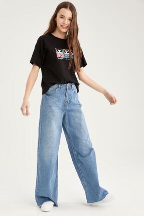 Defacto Kadın Siyah Powerpuff Girls Lisanslı Bisiklet Yaka Relax Fit T-Shirt 1