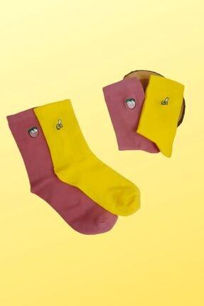ULU SOCKS 2'li Meyve Nakış Işlemeli Çorap Muz Kayısı Figürlü 1