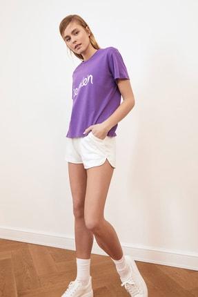 TRENDYOLMİLLA Mor Baskılı Semi-Fitted Örme T-Shirt TWOSS20TS0218 1