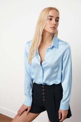 TRENDYOLMİLLA Açık Mavi Basic Gömlek TWOAW20GO0465 2