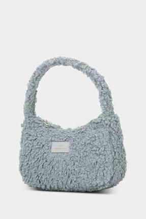 Housebags Kadın Gri Suni Kürklü Baguette Çanta 197 2