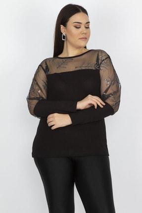 Şans Kadın Siyah Tül Ve Pul Payet Detaylı Bluz 65N22273 1