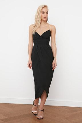 TRENDYOLMİLLA Siyah Nervür Detaylı Elbise TPRSS19BB0420 2