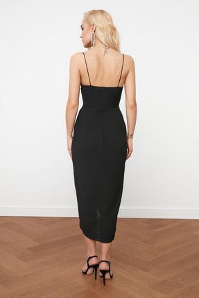 TRENDYOLMİLLA Siyah Nervür Detaylı Elbise TPRSS19BB0420 4