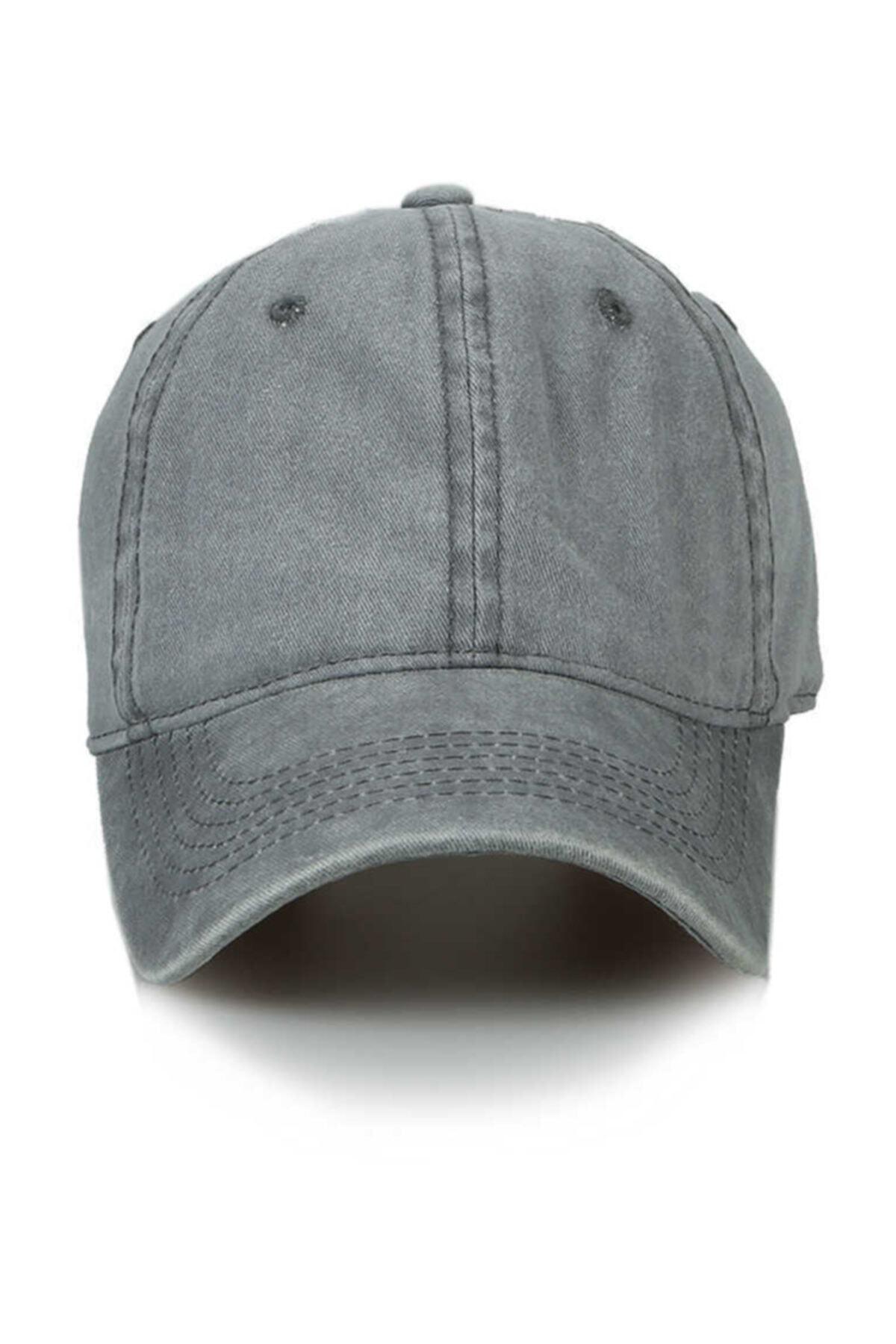 Unisex Gri Düz Şapka