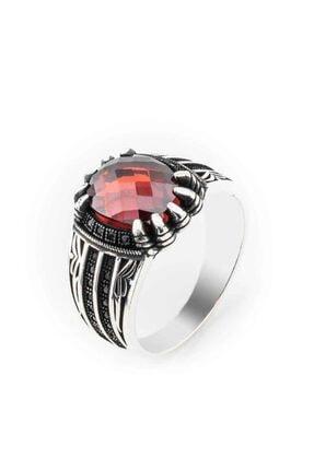 Takıhan Erkek Kırmızı Zirkon Taşlı Kartal Pençesi Gümüş Yüzük 0